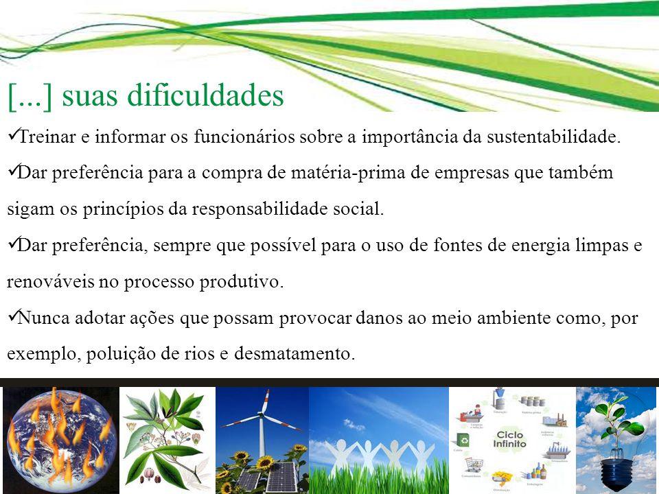 [...] suas dificuldades Treinar e informar os funcionários sobre a importância da sustentabilidade.